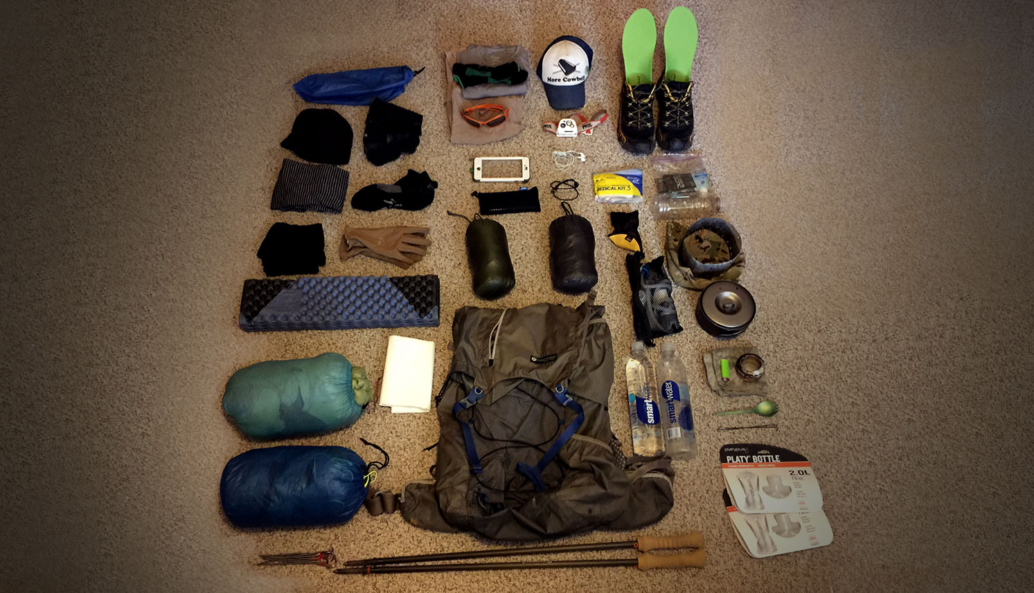 Thru-hiking gear collage - gear list - hiking gear