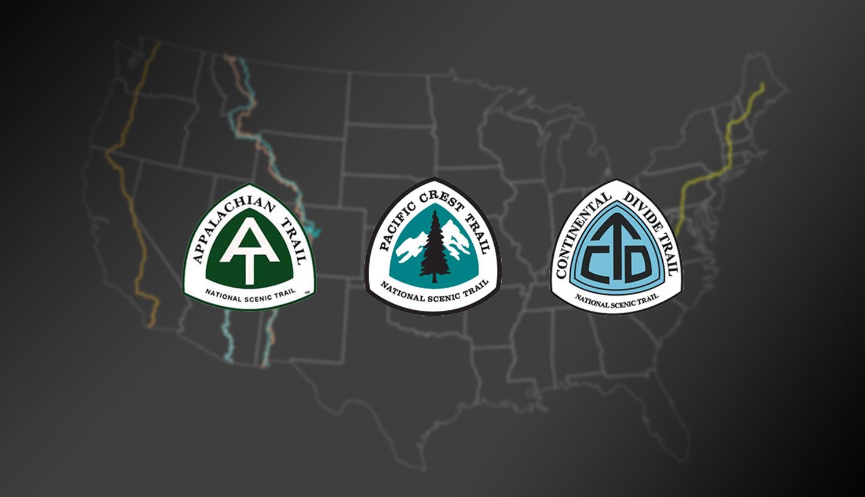 Thru-hiking triple crown logo & map