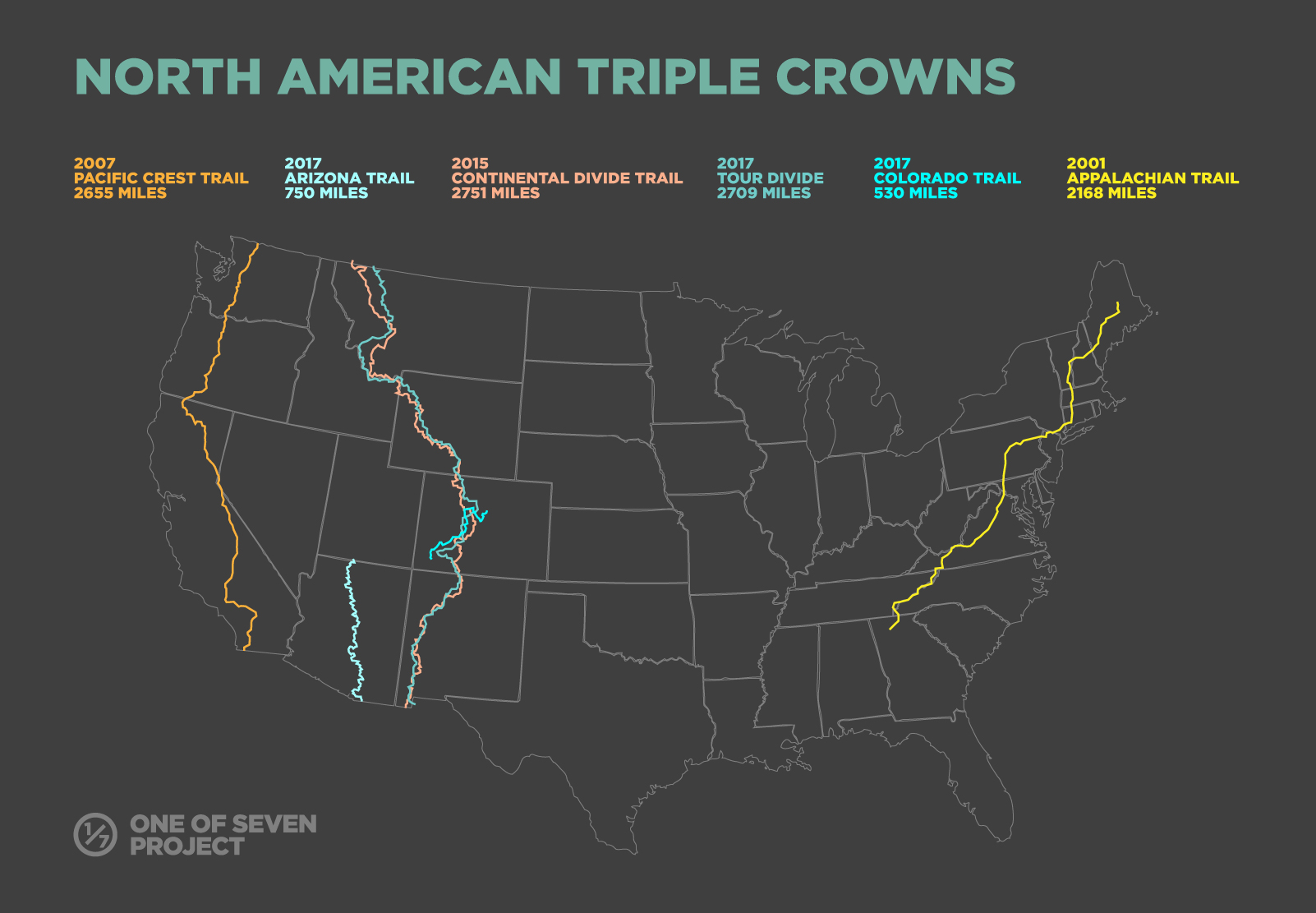 One of Seven Project Triple Crown Map - Thru-hiking & Bikepacking