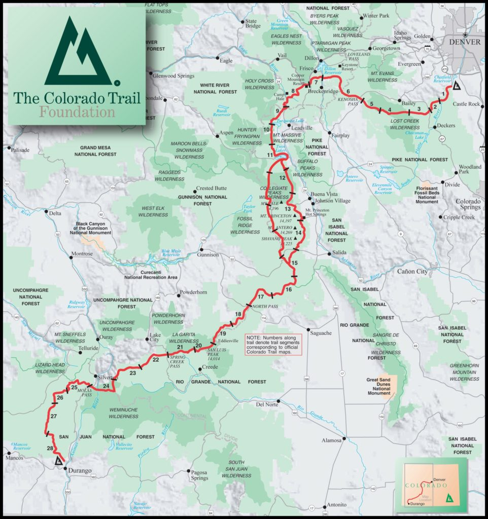 CTR map - Colorado trail - Colorado Trail Transportation Guide - Colorado Trail Guide