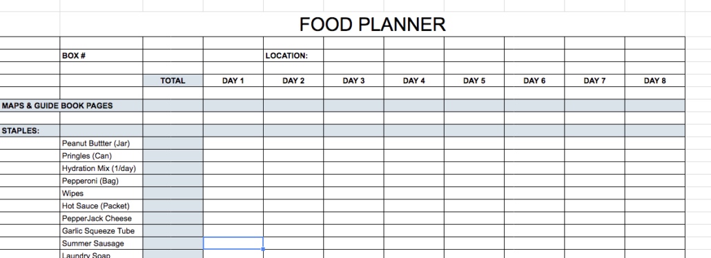 FOOD DROP PLANNER PHOTO - bikepacking, pre-trip considerations