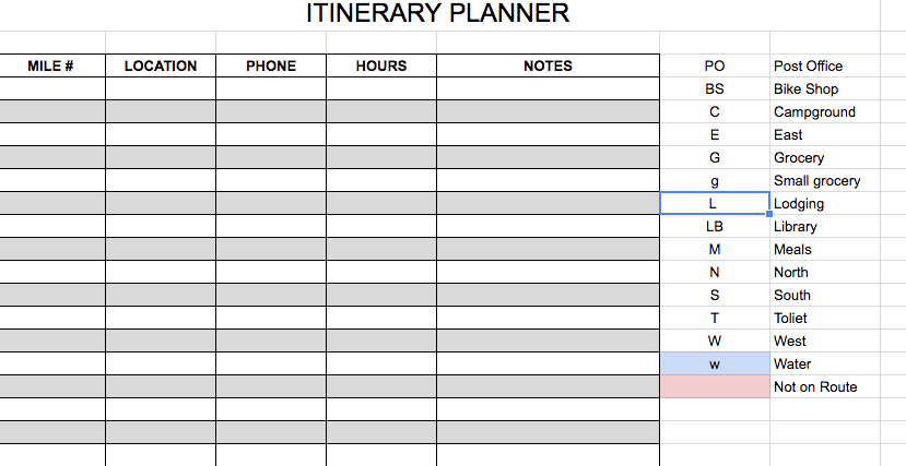 ITINERARY PLANNER PHOTO - bikepacking, pre-trip considerations