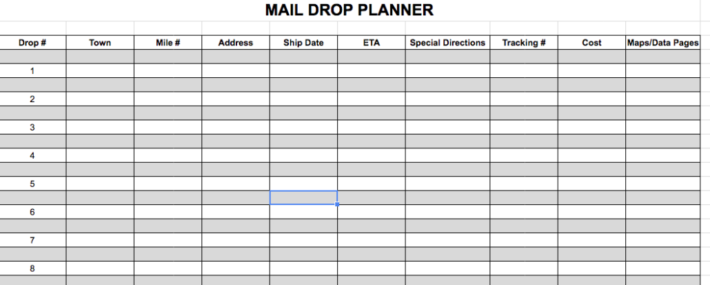 MAIL DROP PLANNER PHOTO - bikepacking, pre-trip considerations