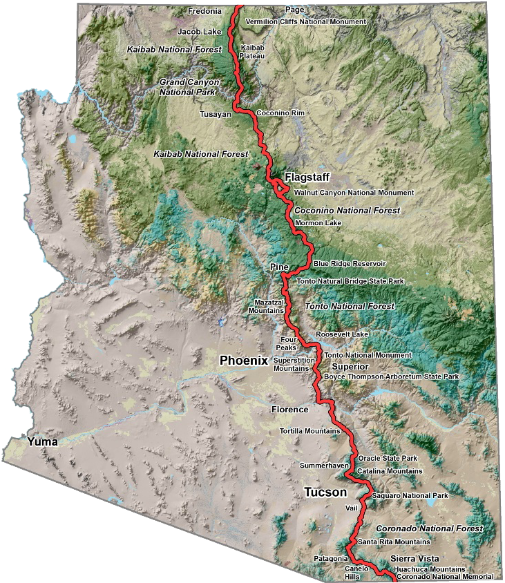 Arizona trail map - Arizona transportation guide - Arizona Trail Guide- aztr