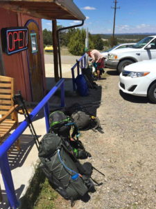 Packs outside Pie Town Cafe - Pie Town, New Mexico - hiking gear