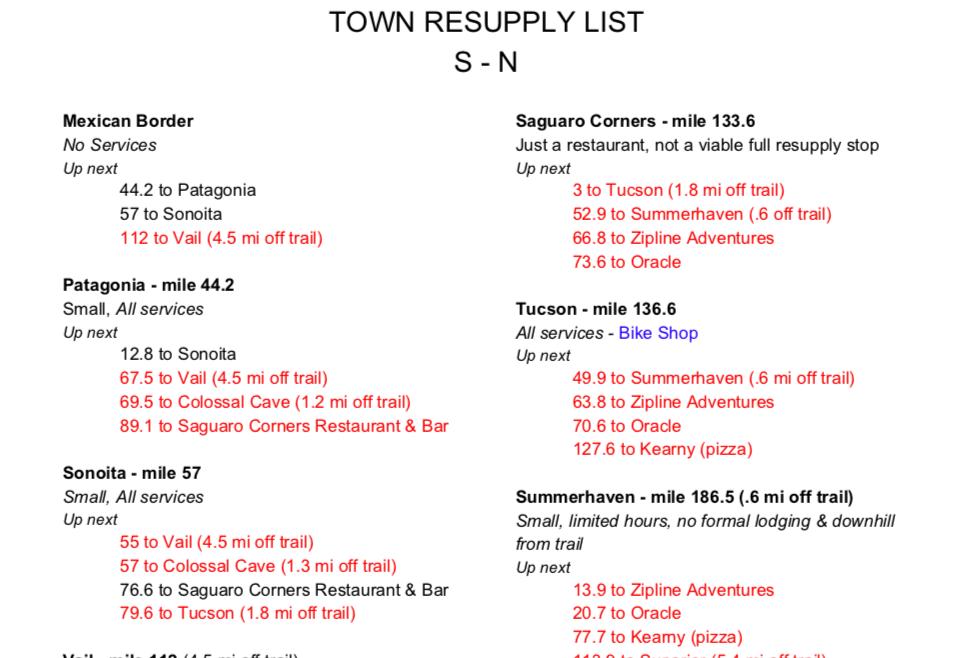 Arizona Trail Town List S-N Planning Guide - Arizona Trail Planning guide