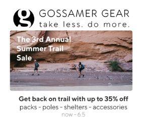 Gossamer Gear 3rd Annual Trail Sale