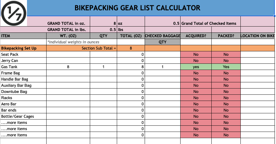 Gear List Calculator bikepacking planning