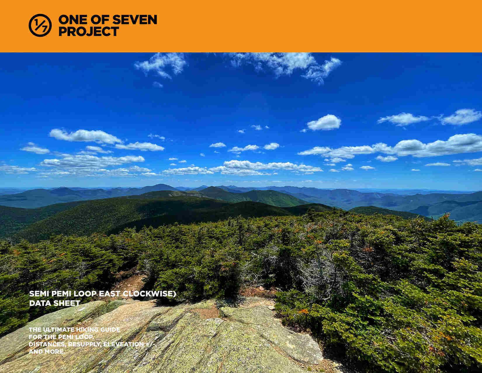 Semi Pemi East (clockwise) Data Sheet cover photo hiking NH guide